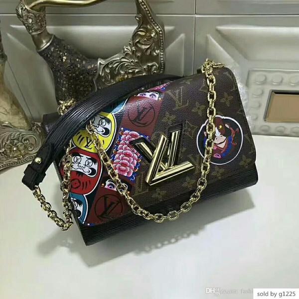 M43497 mittlere Handtasche Leder Messenger arbeiten Schulter alt Blumenbeutel Mobile Wallet Größe 23 * 18 * 8cm