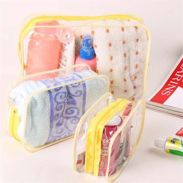 3 Size High Capacity Cosmetics Storage Bag PVC Clear Women Makeup Bag Waterproof Transparent Travel Washing Bags