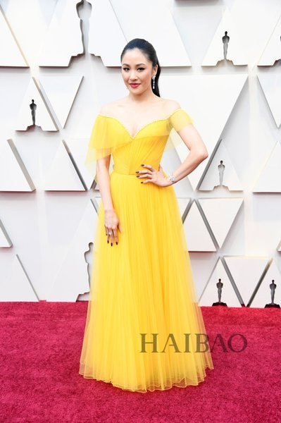 2019 Oscar film festival Star Dresses A Line Yellow Tulle Off Shoulder Elegant Evening Formal Dresses Cheap Red Carpet Celebrity Dresses