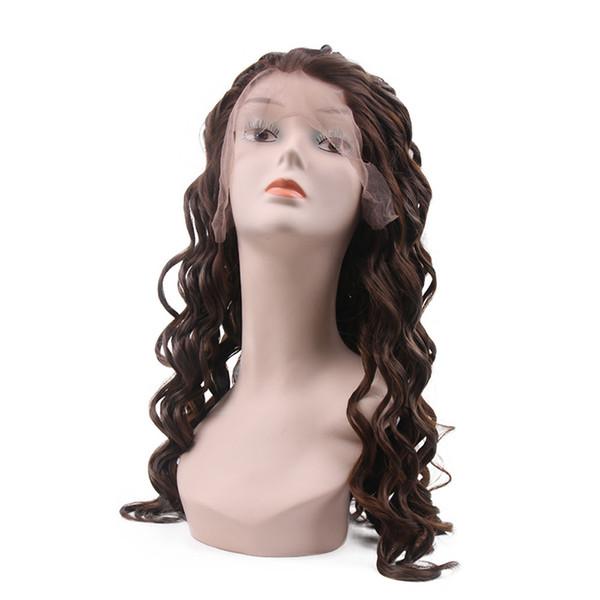 Женщины Синтетические парики фронта шнурка 1 шт много Длинные вьющиеся темно-коричневый жаропрочных парик волос высокого качества
