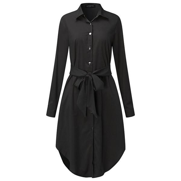 Dress Plus Size Plus Size Abbigliamento Donna Primavera maniche lunghe camicetta Abito Cintura donna Con Casual Work Vestidos Twill 5Xl