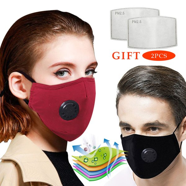 top popular Anti Pollution PM2.5 Mask Dust Respirator Washable Reusable Masks with 2PCS Filter Unisex Mouth Muffle Allergy Asthma Travel Cycling Stock 2020