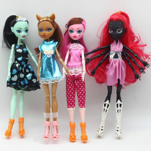 20pcs High Quality Fasion Monster Dolls Draculaura/Clawdeen Wolf/ Frankie Stein / Black WYDOWNA Spider Moveable Body Girls Toys AIJILE