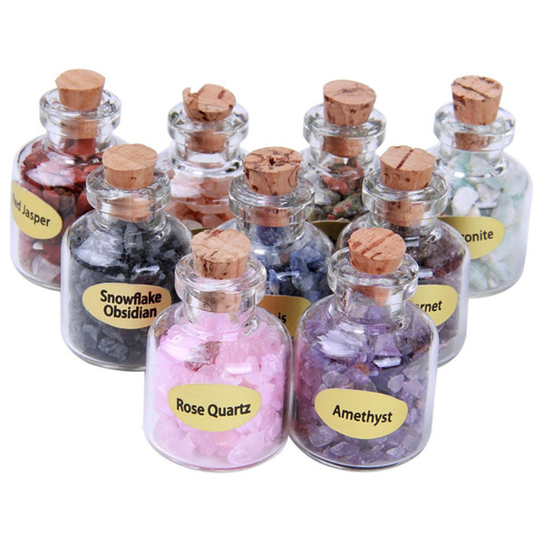 Natural Semiprecious Crystal Mini Stones Bottles Healing Mini Tumbled Stones Reiki Wicca Chips with Box 9 Bottle/Box DEC561