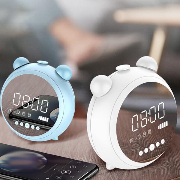 1 set venda a retalho LEDTime exibição de alarme alto-falante espelho Bluetooth Speaker Portátil sem fios Bluetooth Speaker Microphone Car Música Baixo Som