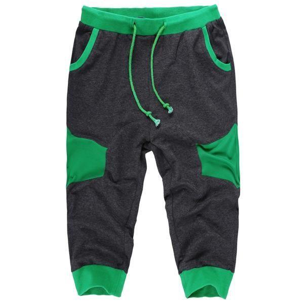 Color Baggy Pants Men Training Drawstring Waist Patchwork Capri Jogger Elastic Sport Casual Contrast Short Fashion