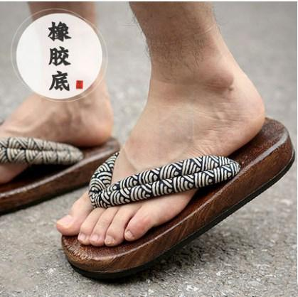 Japanese Clogs Wood Sandals Man clogs flat wood heel square toe shoes summer plank slippers sandals