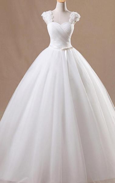 2019 мода квадратная шея Принцесса свадебные платья с бантом кружева Принцесса свадебные платья с 3D цветы длина пола белое свадебное платье