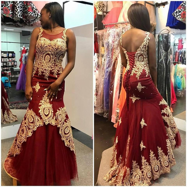 Burgundy With Gold Applique South African Black Girls Prom Pageant Dresses 2020 Crystal Scoop Corset Back Tiered Elegant Evening Formal Gown