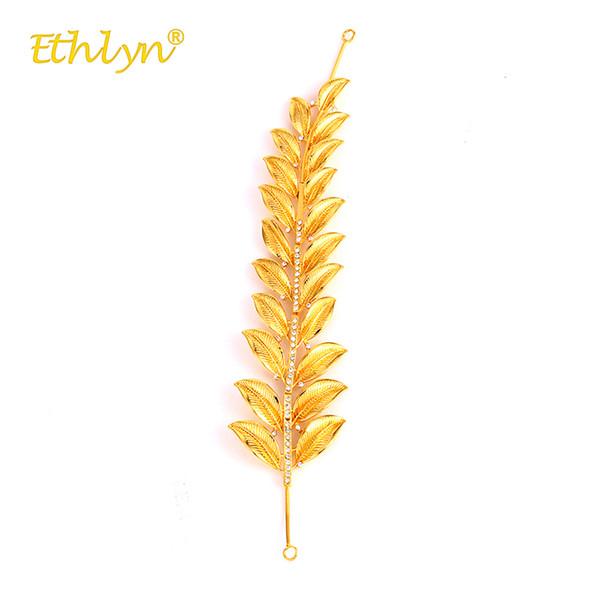 Großhandel 2018 Mode Frauen Haarspangen Afrika / Mittlerer Osten / Äthiopien Hochzeit Zubehör Luxus Golden Leaf Haarschmuck Hairwear