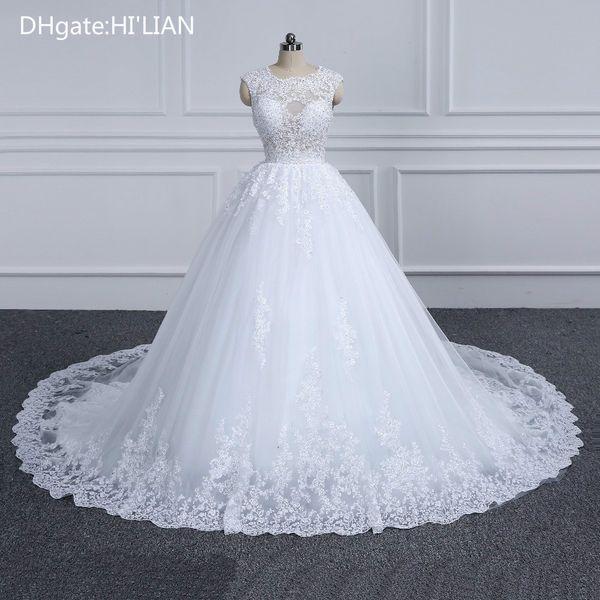 Branco Marfim Ensolarado Elegante Lace Princesa Vestido De Noiva Beading Apliques de vestidos de Noiva Do Vintage Robe De Mariage Plus Size Ocasião Formal