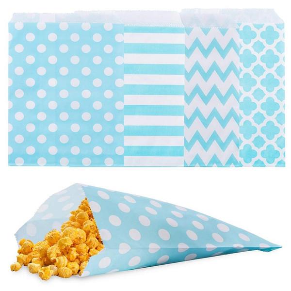 Düğün Şeker Çubuğu Çanta kağıt şeker çanta Kek Depolama Aperatif Hediye Çocuklar için Büfe Kağıt Torba Çizgili Puantiyeli Chevron 13x18 cm