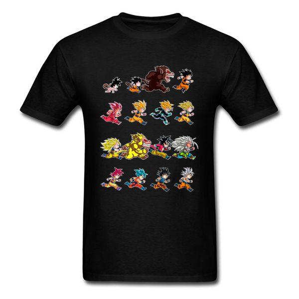 Evolution Of King Monkey 2018 Men Black T-shirt Dragon Ball Pop Anime Design Male Cotton T Shirt Funny Cartoon Tee