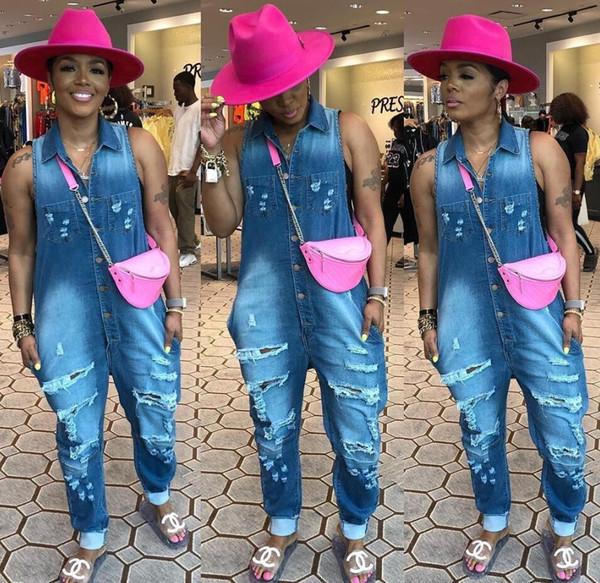 Demin Patchwork Jahrgang Einreiher Lange Jumpsuits Street Frau Turn-Down-Kragen Ärmelloch Strampler Vintage klassische Jeans Playsuits