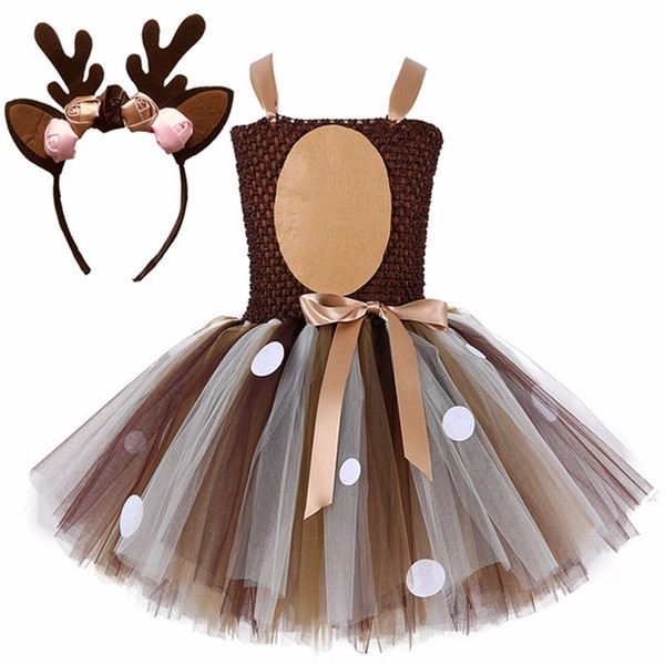 Kids Christmas Deer Tutu Princess Dress With Headband Girl Birthday Party Dress Children Purim Halloween Animal Cosplay Costume