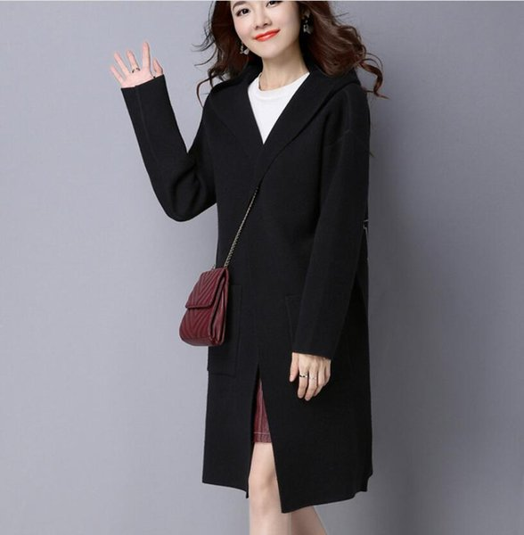 Free shipping winter new ladies knit sweater coat long hooded back jacquard thick knit coat women