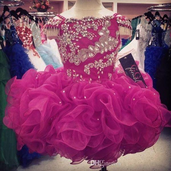 Cupcake Flower Girls Dresses Crystals Short Little Girl's Beauty Pageant Infants Kids Formal Wear 2019 Cheap Glitz Dark Fuchsia Ball Gowns
