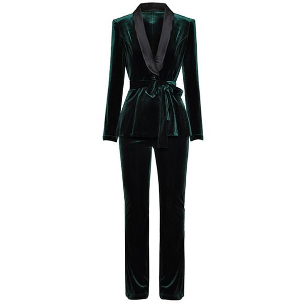 3 Color Deep V Turn-down Collar Single Breasted Long Sleeve Blazer + Slim Waist Small Feet Pants Velvet Set 2018 New Women Suits C18122401