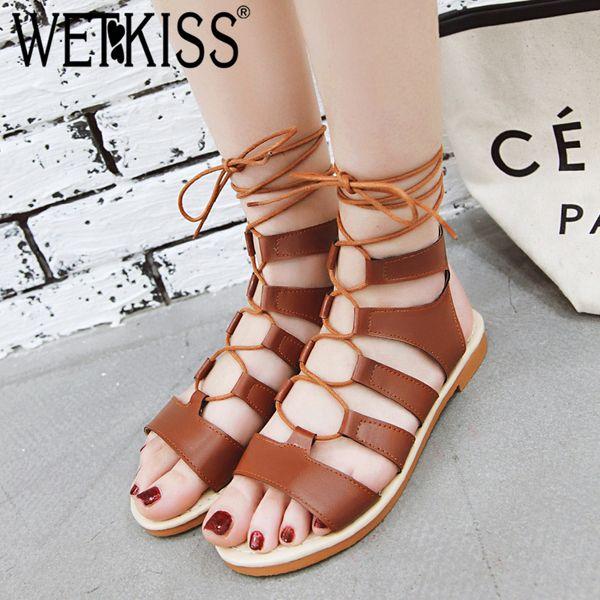 WETKISS Pu Moda Sandálias Das Mulheres Do Dedo Do Pé Aberto Cruz Amarrado Calçado Sandálias Menina Gladiador Sapatos de Mulher Verão Plus Size 34-50
