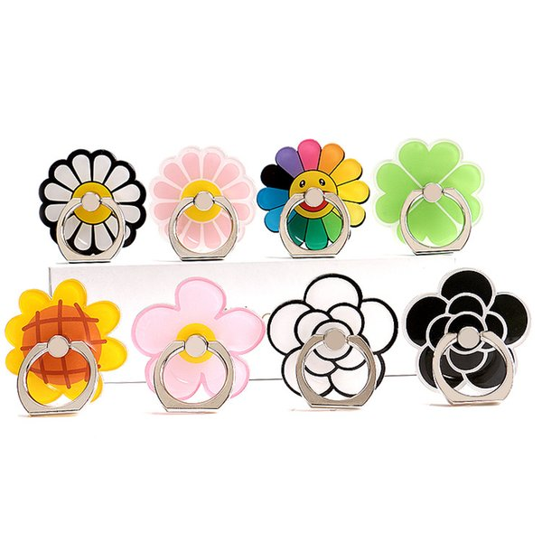 Cartoon Rainbow Cactus Cellphone Case Stands DIY Creative Universal Phone Mounts Ring Cellphone Holders with retail package