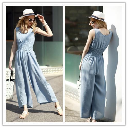 New design womens clothes jumpsuit fashion elastic high waist slimming wide leg long pants jumpsuits summer streetwear clothing woman wear