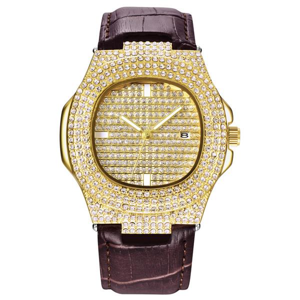 Homens Mulheres Relógios de Moda de Luxo Nova Data de Couro de Diamantes Strass Quartz Negócio de Quartzo Relógio Casual Relógios De Pulso Vestido de Presente Top Quaity