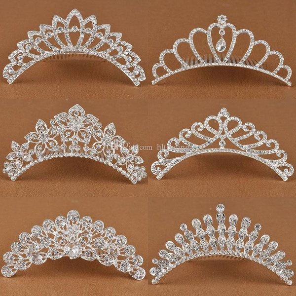 Baby girls princess Crown Princess combs Mini Twinkle Rhinestone Diamante Crown Hair Comb Hair Clip Tiara for Party Wedding C5681