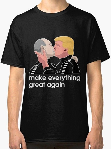 Trump kissing Putin Men's Black T shirt size S to 3XL New T Shirts Unisex Funny Tops Tee
