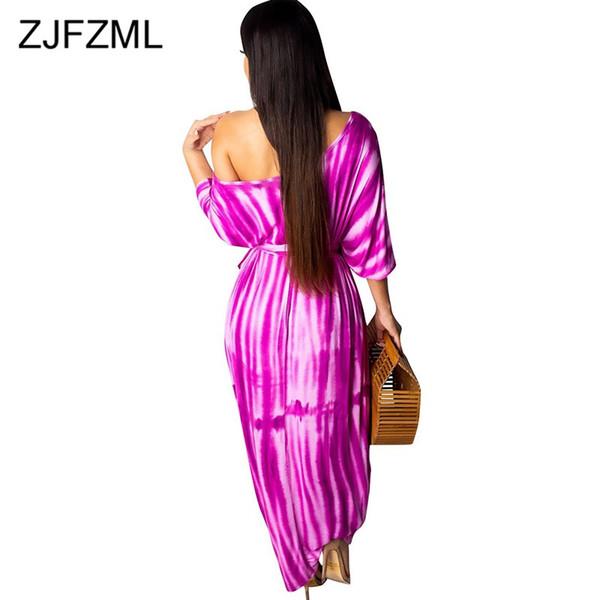 Satın Al Artı Boyutu Yaz Uzun Maxi Dress Kadınlar Kravat Boya Baskı