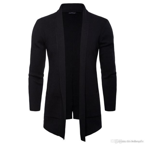 İlkbahar Sonbahar Erkek Açık Dikiş Katı Standı Yaka Uzun Kollu Dış Giyim Casual Coats Moda Örme ile Pocket Erkekler Ceketler