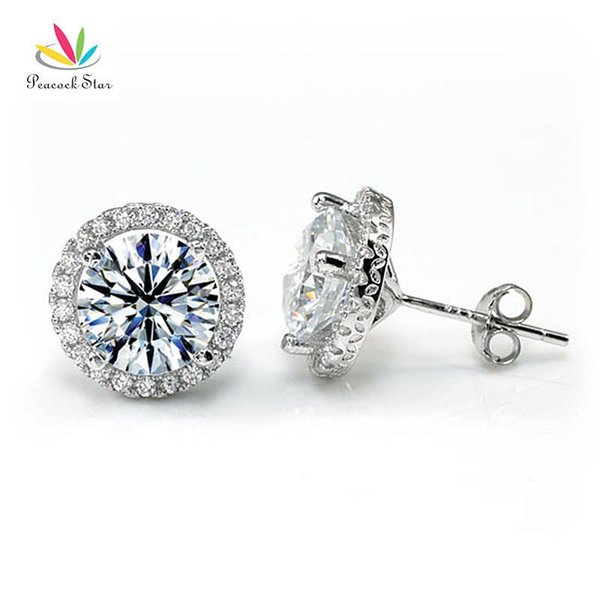 Peacock Star Halo Stud Earrings Solid 925 Sterling Silver 4 Carat Round Cut Bridal Bridesmaid Jewelry Cfe8102 T7190617