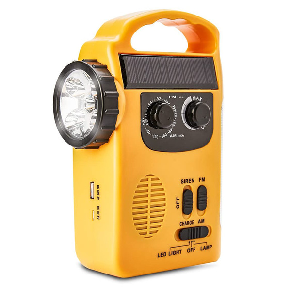 best selling Solar and Dynamo 4 -in-1 Flashlight with AM FM Radio, Electronic Telecommunications, Emergency Devices, Siren, Power Bank, High pitch alarm,
