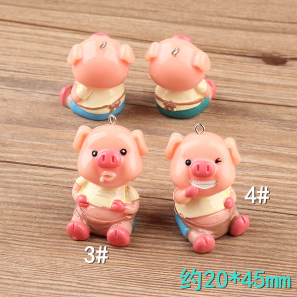 Mix 10pcs Miniature a Jie cute 3D pig charms resin jewelry fittings three-dimensional cartoon creative key chain DIY pendant wholesale