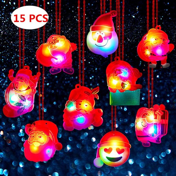 15pc LED Party Colliers de Noël Favors pour enfants et adultes avec Paquet cadeau de Noël Lumière des jouets Traiter Sac remplisseurs Aléatoire