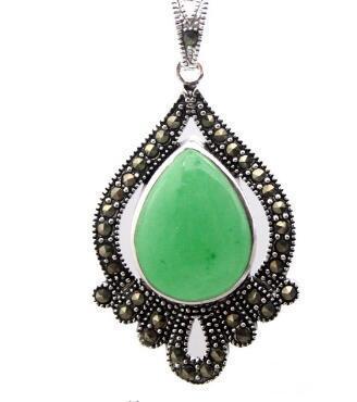 Vintage Marcasite Natural Green Jade Teardrop Gems 925 Sterling Silver Pendant