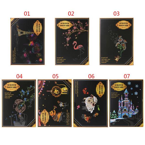 4шт/комплект творческий цвет открытка выскабливание ночные сцены ломают мультфильм животных символов поздравительные открытки