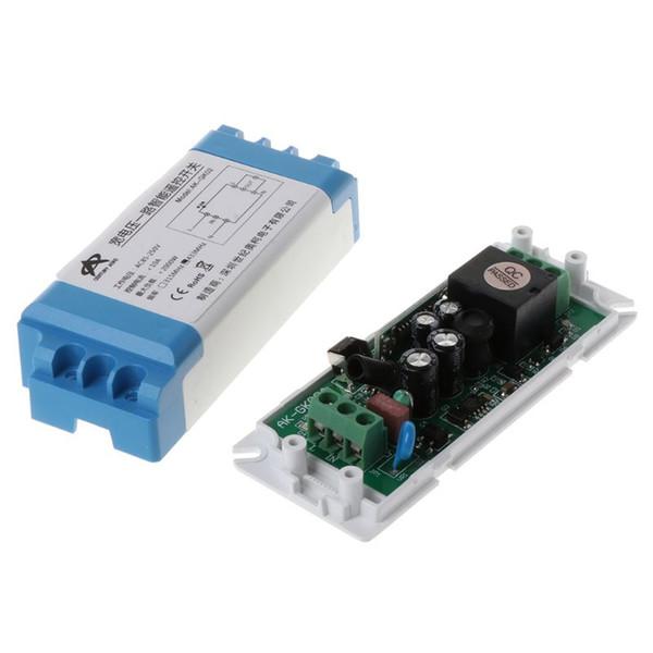 1 Takım AC85-250V LED Işık Lamba Anahtarı Röle Çıkışı Kablosuz Radyo Alıcısı Verici Su Geçirmez Modülü Durumda ile 2 Yuvarlak Uzaktan