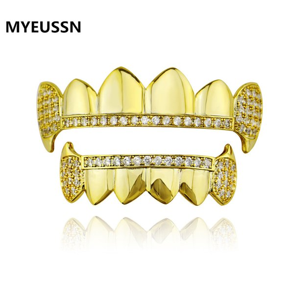 Hip Hop rapper Grillz Teeth Iced Zircon Mouth teeth Caps Top & Bottom Tooth Set Men Women Vampire Fashion Jewelry