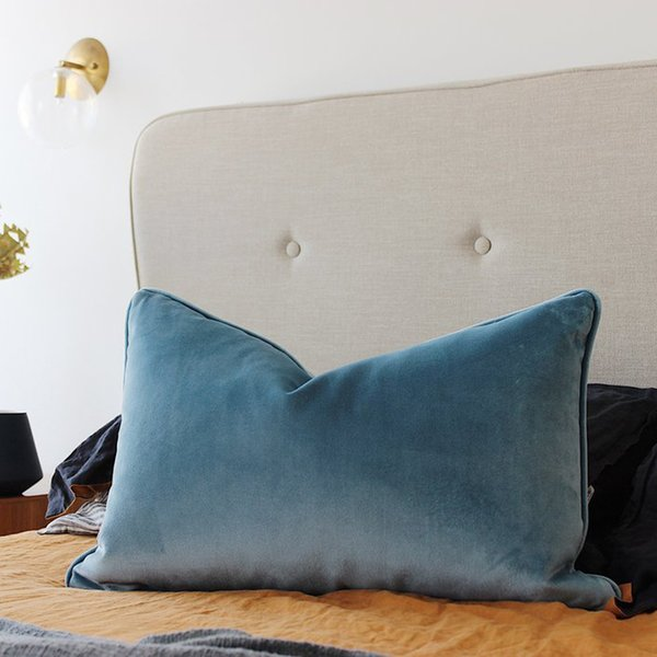 Soft Light Blue Velvet Cushion Cover Pillow Case Bed Sofa Chair Pillow Cover Piping Design No Balling-up Without Stuffing