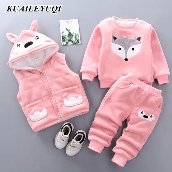 Baby Boys Girls Cartoon clothing sets Winter Warm Vest Coat + Sweatshirt + Pants 3Pcs Infant Kids Children Sports Suit Clothes V191203