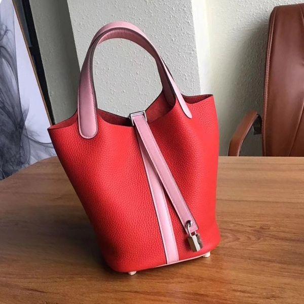 Gemüsekorb Foreskin Leder Kontrast Bucket Bag 2019 neue erste Schicht aus Leder tragbare Damen Tasche