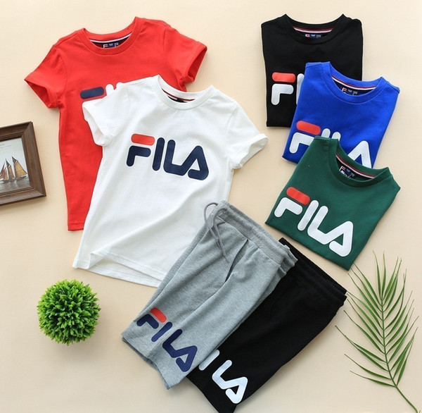 New summer kids fashion clothing set cute high quality comfortable breathable childrens clothes boys Cartoon Basic children's solid color