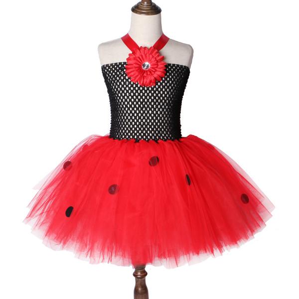 Nouvelle européenne et américaine coccinelle Tutu enfants robe Costumes de vacances filles princesse enfants robe maille moelleux filles robe jupe