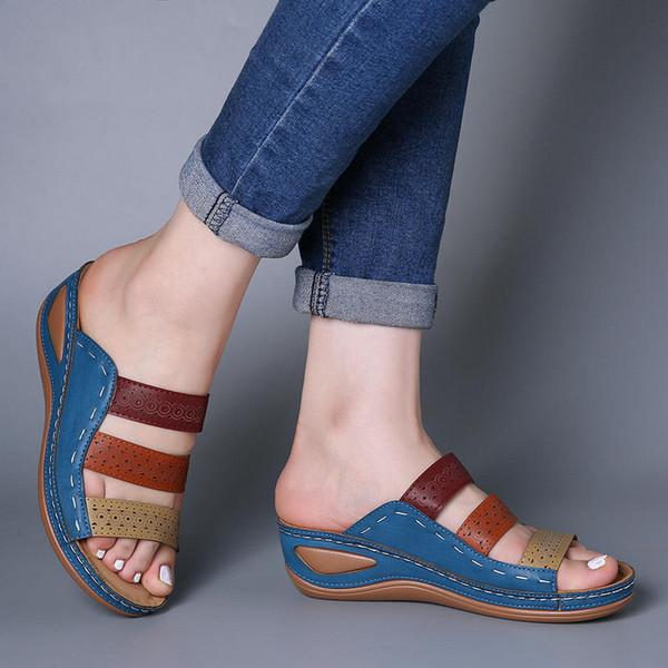 NEW Women Three-color stitching Sandals-OPEN-TOE-WOMEN-SANDALS-SUMMER