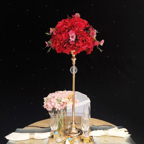Золотые Вазы Акриловые Цветок Дорога Свинец Свадебный Стол Центральные Цветы Стенды Для Украшения Дома