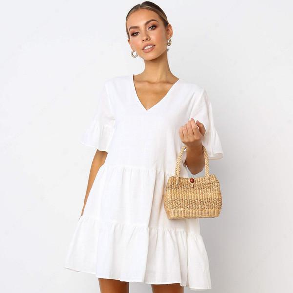 2019 yaz düz renk derin v yaka kısa kollu elbise 1771 02