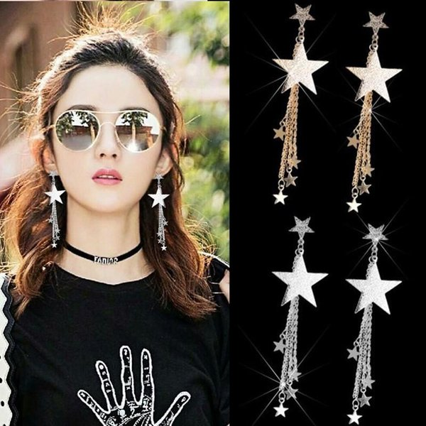 Bohemian Pentagram Long Tassel Stud Earrings Women Girls Vintage Circle Temperamental star Drop Hook Dangle Earring Jewelry