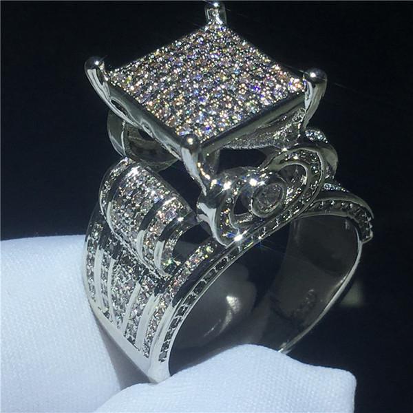 Majestic Sensation ring 925 Sterling silver pave configuração Diamante Cz Noivado anéis da faixa de casamento para as mulheres homens Jóias