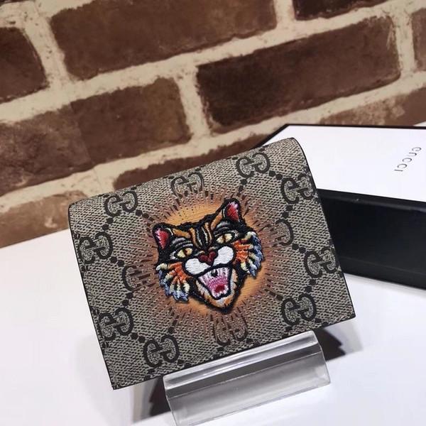 Top di lusso di qualità di disegno della celebrità lettera di goffratura ricamo della testa della tigre Amore Portafoglio in pelle bovina Uomo Donna 476.412 borsa della frizione