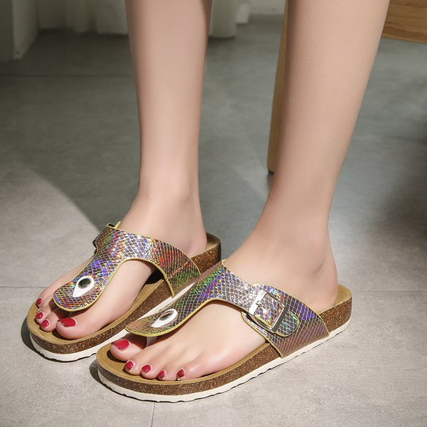 Summer Women&Men Slippers Crok bottom Flip Flops bling paillette Beach Shoes Fashion lovers Slides Outdoor shoes big size 35-44